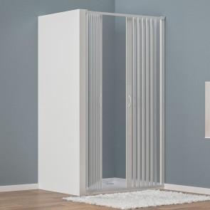 Porte de douche en niche en PVC blanc...