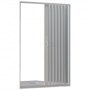 Cabine de douche en PVC 1 face avec ouverture latérale rabattable