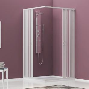 Cabine de douche recto-verso en PVC blanc H185