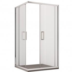 Cabine de douche d'angle H195 cm deux portes coulissantes en cristal Adry mat 6 mm