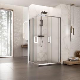 Piatto doccia con box doccia a due lati aperto Adry satinato