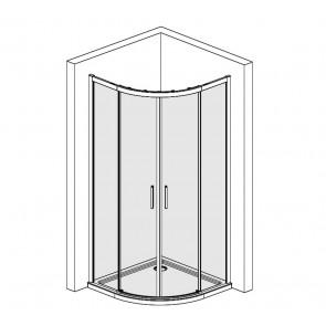 Cabine de douche semi-circulaire ronde